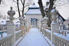 Park im Winter. Stockfotografie