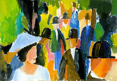 In the park. The image of women and men who walk in the park royalty free illustration