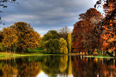 Park In Autumn, Trees And Lake