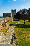 Park inside fortress and north wall of Kalemegdan fortress in Belgrade Stock Photo