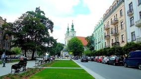 Park in Jan Matejko Square, Krakow, Poland stock video