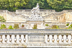 Park Jardin de la Fontaine in Nimes Royalty Free Stock Image