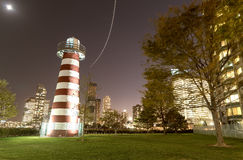 Park in Jersey City along Hudson river. Night view Stock Image