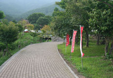Park at Kawaguchi and foggy mountain Stock Images