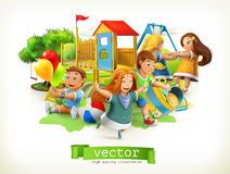 Park, kids playground. Outdoor games. Vector illustration. Park, kids playground. Outdoor games. 3d vector illustration Royalty Free Stock Photography