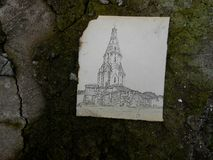 Park in Kolomna, Moscow chirch drawing on old burnt paper on woo Royalty Free Stock Images
