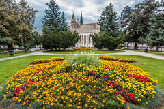 Park in Kosice center. Photo was taken in park near Gothic St. Elisabeth Cathedral on Kosice's main street, Slovakia royalty free stock photography