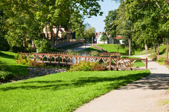 Park in Kuldiga, Letland royalty-vrije stock foto