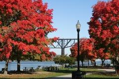 Park längs den Hudson floden Royaltyfria Foton