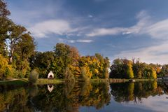 Lake with blue sky, Zagreb park, Croatia Royalty Free Stock Photo