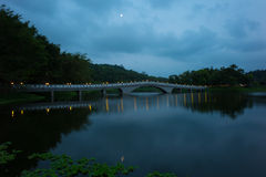 Park with lake and bridge. A park with a beautiful traditional bridge in Taipei, Taiwan Stock Images