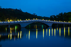 Park with lake and bridge. A park with a beautiful traditional bridge in Taipei, Taiwan Royalty Free Stock Photography