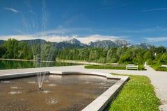 Park at lake Forggensee Stock Photo