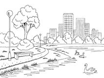 Park lake graphic black white landscape sketch illustration vector Royalty Free Stock Photo