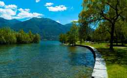 Park on Lake Langensee in the city of Ascona. Stock Photos
