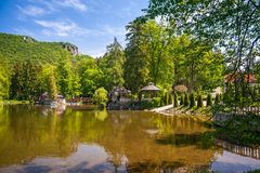 Park with a lake in the spa town Rajecke Teplice in Slovakia. Park with a lake in the spa town Rajecke Teplice in Slovakia, Europe Stock Image