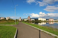 Park with a lake, Zelenogorsk royalty free stock photography