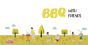 Park Landscape with Active People on BBQ Party. Friends on Summer Barbeque and Grill. Barbeque Poster, Banner. Invitation. Vector illustration vector illustration