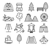 Park landscape and amusement line icons vector set. Park landscape and amusement line icons set. Carnival and playground, circus and carousel, childhood game Royalty Free Stock Image