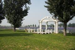 Park landscape architecture, white arch gate, fence Royalty Free Stock Photos