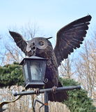 Park landscape in autumn.Owl (Bubo virginianus) Bronze owl statue. Owl (Bubo virginianus) Bronze owl statue royalty free stock photography
