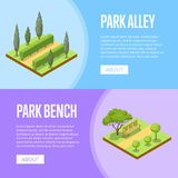 Park landscape design isometric posters royalty free illustration