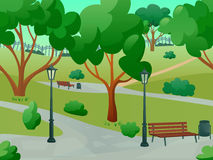 Park Landscape Flat. Summer park alley 2d game landscape flat background vector illustration Stock Image