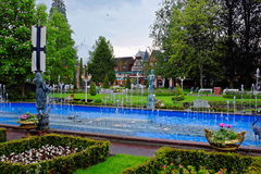Park landscape German area in Europa Park at spring Royalty Free Stock Photography