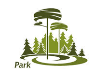 Park landscape icon with evergreen trees. Forest or park landscape icon with meadow, evergreen high pines and lush spruce trees  on white background Royalty Free Stock Image