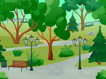 Park Landscape Illustration. Park 2d game landscape with trees streetlights and bench flat vector illustration Royalty Free Stock Image