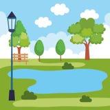 Park landscape with lake scene stock illustration