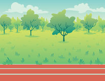 Park Landscape with running track. Environment. Park landscape with running track in flat cartoon style. Environment with green trees, grass and track. Vector Royalty Free Stock Photography