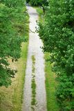 Park lane, gravel walk. Framed by trees and green lawn Royalty Free Stock Photo