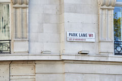Park Lane sign Stock Images