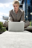 Park with Laptop Royalty Free Stock Photo