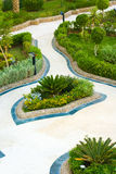 Park layout. Beautiful park layout at a luxury hotel campus in Egypt Stock Photo