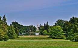 Park of Lednice palace. In Czech Republic on a summer day Royalty Free Stock Images