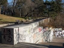 Park Letna and graffiti, Prague Royalty Free Stock Photography