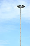Park light poles. With white clouds and blue sky backgrounds Stock Photos
