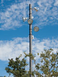 Park lighting pole. And spotlights detail royalty free stock photo