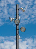 Park lighting pole. And spotlights detail stock photo