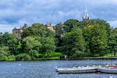 Park in Linlithgow with a view on the castle and the church. Scotland royalty free stock images