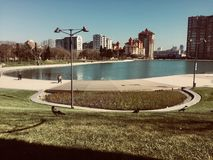 """Dada Gorgud"" park Baku. Pure lake,ravens,fresh grass,sunny day Stock Image"