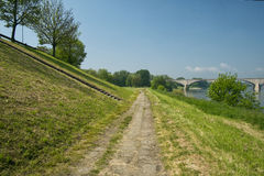 Park longside river Ticino in Pavia, Italy Stock Photography