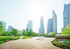 Park in lujiazui financial center, Shanghai Stock Photo