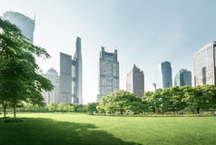 Park in lujiazui financial center, Shanghai Royalty Free Stock Image