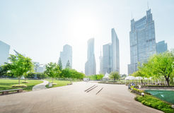 Park in lujiazui financial center, Shanghai Royalty Free Stock Photo