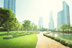 Park in lujiazui financial center, Shanghai Royalty Free Stock Images