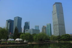 Park in lujiazui financial center, Shanghai, China Royalty Free Stock Images