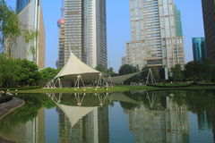 Park in lujiazui financial center, Shanghai, China Royalty Free Stock Photo